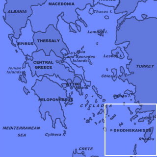 Map Of The Greek Islands Featuring Patmos One Of The Dodecanese